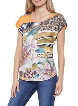 Printed Cap Sleeve Top - 1305058750815