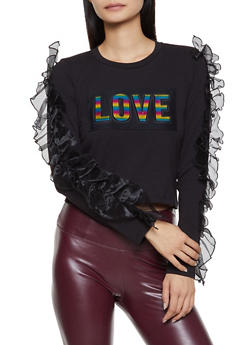 Ruffled 3D Love Graphic Top - 1305058750830