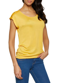 Rib Knit Button Tabbed Shoulder Tee - 1305058750842