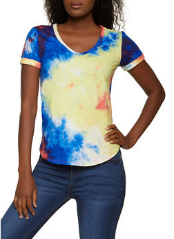 Tie Dye Fixed Cuff Sleeve Tee - 1305058750991
