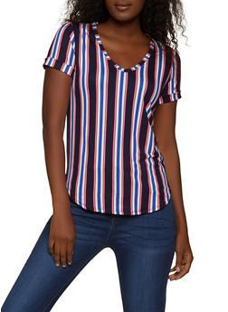 Striped Soft Knit V Neck Tee - 1305058750994