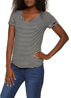 Short Sleeve Striped V Neck Tee - 1305058750996