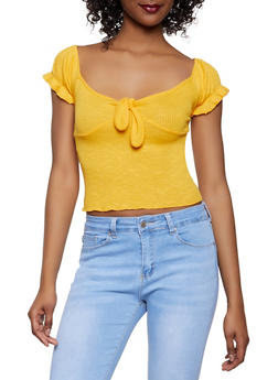 Ribbed Tie Front Off the Shoulder Tee - 1305058751264