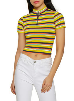 Striped Half Zip Cropped Tee - 1305058751324