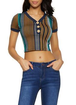 Striped Half Button Crop Top - 1305058751329