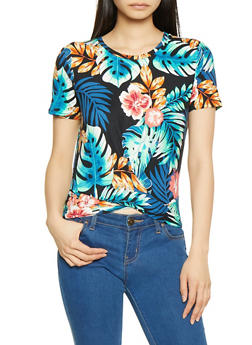 Tropical Print Twist Front Tee - 1305058751734