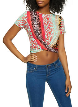 Multi Color Leopard Twist Front Tee - 1305058751736