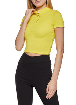 Zip Neck Ribbed Knit Crop Top - 1305058751800