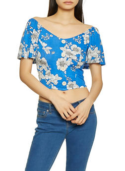 Faux Button Floral Crop Top - 1305058751850