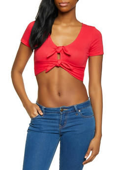 Double Tie Front Crop Top - 1305058751856