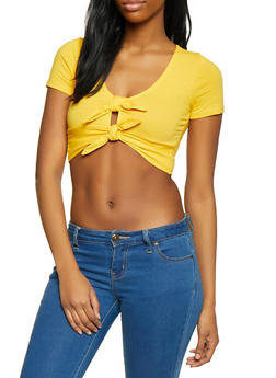 aa91faf06b8b2 Double Tie Front Crop Top - 1305058751856