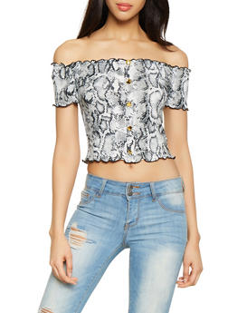 Snake Print Lettuce Edge Crop Top - 1305058751894