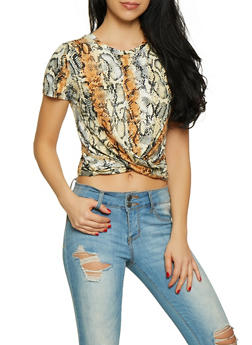 Snake Print Twist Front Tee - 1305058751895