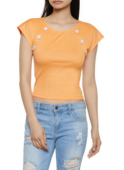 Button Detail Ribbed Knit Top - 1305058751898