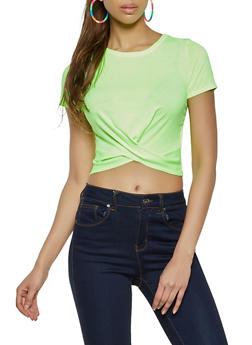 Twist Front Cropped Tee - 1305058751980