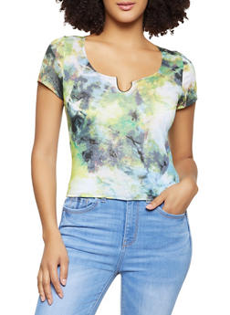 Tie Dye Split Scoop Neck Tee - 1305058752107