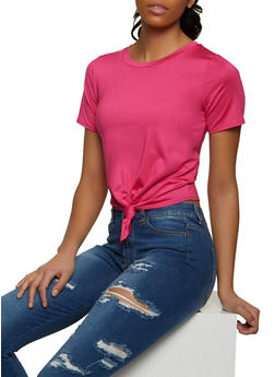Knot Front Spandex Tee - 1305058752115