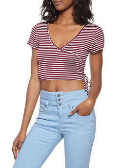 Striped Faux Wrap Crop Top - 1305058752127