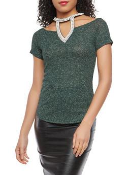 Faux Pearl Neckline Glitter Knit Top - 1305058752371