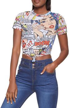 Tie Front Pop Art Graphic Tee - 1305058752410