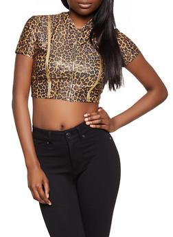 Cheetah Print Zip Front Crop Top - 1305058752887