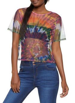 Tie Dye Print Mesh Tee - 1305058752889