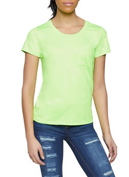 Spandex Short Sleeve Top - NEON LIME - 1305058753484