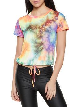 Tie Dye Drawstring Top - 1305058753616