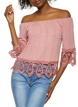 Ribbed Off the Shoulder Crochet Hem Top - 1305058754084