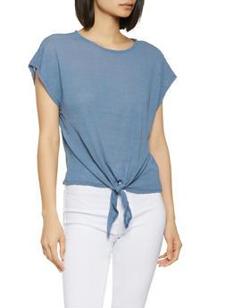 Textured Knit Tie Front Tee - 1305058754348