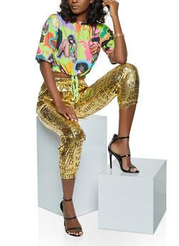 Short Sleeve Afro Girl Print Tee - 1305058754360