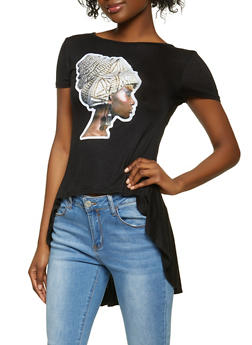 Afro Girl Patch High Low Top - 1305058754372