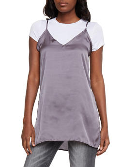 Layered Satin Cami Tunic T Shirt - 1305058757595
