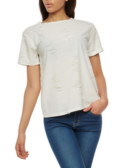 Distressed T Shirt - 1305058759481