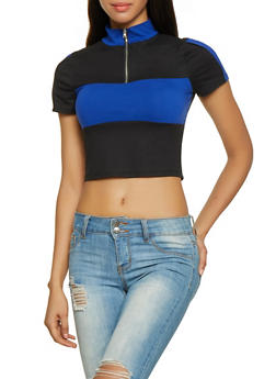 Color Block Half Zip Cropped Polo Top - 1305074290423