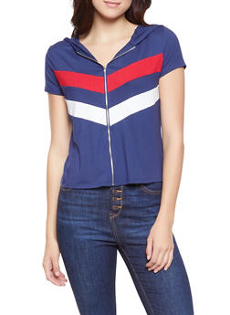 Chevron Stripe Zip Front Top - 1305074290426