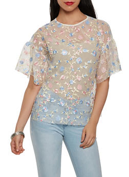 Floral Embroidered Mesh Top - 1305074290428