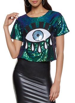 Sequin Evil Eye Top - 1305074290439