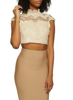 Crochet Trim Zip Back Crop Top - 1305074290444