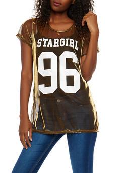 Stargirl Graphic Metallic Mesh Tunic Top - 1305074290754