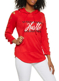 Hustle Graphic Slashed Sweatshirt - 1305074292047