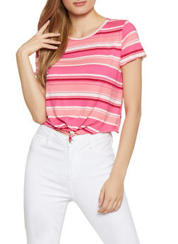 Striped Tie Front Tee - 1305074292417