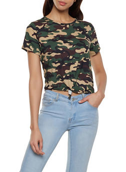 Camo Soft Knit Tie Front Tee - OLIVE - 1305074292418