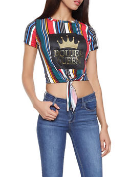 Boujee Queen 3D Foil Graphic Striped Tee - 1305074292474