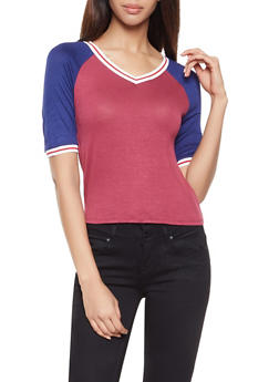 Color Block Raglan Tee - 1305074292866