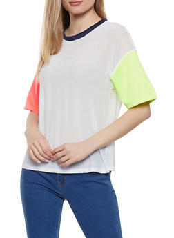 Color Blocked Mesh Tee - 1305074294115