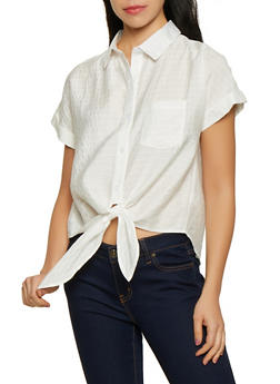 Tie Front Button Down Poplin Top - 1305074297106