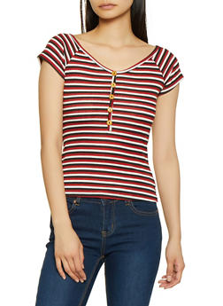 Wooden Button Detail Striped Top - 1305074297132