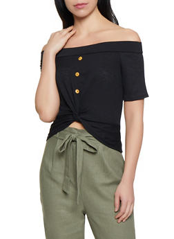 Twist Button Front Crop Top - 1305074297133