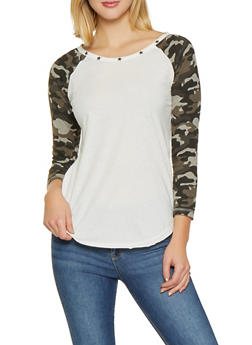 Studded Trim Camo Sleeve Baseball Tee - WHITE - 1306015994759